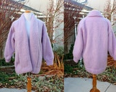 1990's Lavender Orchid Mohair Angora Blend Cardigan Shawl Sweater Plus Size Large Vintage Retro 90's  Hand Knitted