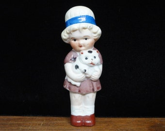 "Vintage Girl with Kitten, Girl Figurine, Hand Painted Ceramic Figurine, Made in Japan, Collectable Knick Nack, 3.5"" High"