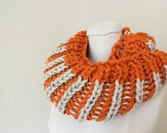 Bright Orange & Natural 2-color Chunky Mini- Infinity Scarf - Handknit, Ready to Ship