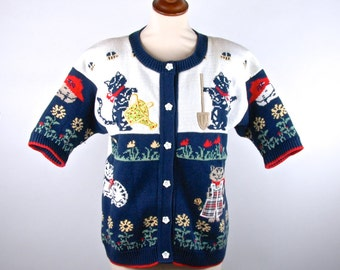 Vintage Kitty Cat Cardigan Sweater, Made in the USA
