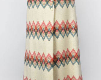 Geometric Long Warm Skirt || Styled for Judith Imports, Made in France || Midi Skirt || Cream, Red, Turquoise