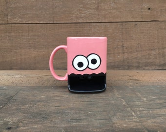 Googly Eyed Monster Dunk Mug - Ceramic Cookie and Milk Mug - Pink - READY TO SHIP