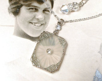 ANTIQUE 1920 Edwardian Camphor Glass Necklace,Art Deco Silver Pave Rhinestone Bridal Pendant Necklace,Downton Gatsby Vintage Wedding Jewelry