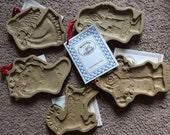 Vintage Set Brown Bag Cookie Art Cookie Molds Christmas Holiday cookies