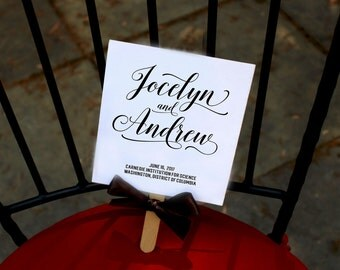 PRINTABLE Program Fans, Calligraphy Wedding Fan, Order of Ceremony,  Black and White Program Fans - DIY PRINTABLE Jocelyn Program Fan