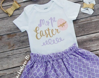 Baby Girl Easter Outfit, Easter Bodysuit with Skirt and Matching Headband; Baby Girl First Easter Dress; My 1st Easter Onesie; barefoot sand