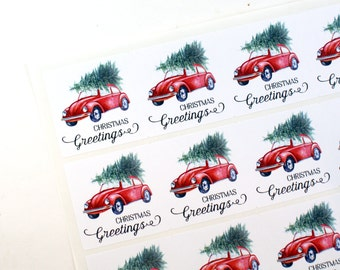 CHRISTMAS GREETINGS - Classic red VW bug with Christmas Tree sticker - large square stickers - winter holiday - home for the holidays