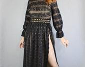Women's Gothic Dress, Black Lace Dress, Long Sleeve, Thigh Slit, Maxi Dress, Hippie, Boho Wedding, Futura Couture, Festival, Size Medium