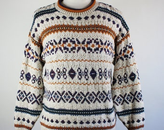 Mens Tribal Print Sweater / Pullover Sweater / Oatmeal Multi Color Sweater / Fall Winter Sweater / Vintage / Size Medium / GOGOVINTAGE