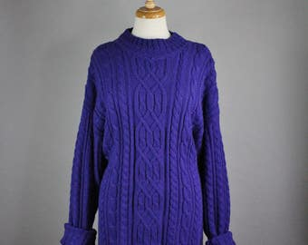 Womens Long Purple Sweater, Vintage 90s, Cable Knit, Boyfriend Sweater, Spring Sweater, Grunge, Modest, Pullover, Size Large