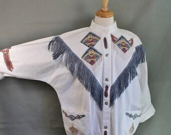 80s Fringe Jacket, Southwest Hand Painted Batwing Fringe Cotton Jacket, Summer Jacket, Festival, Performer, Women's Large, FREE SHIPPING