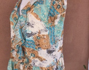 Open Neck Turquoise and Brown Sheer Summer Blouse