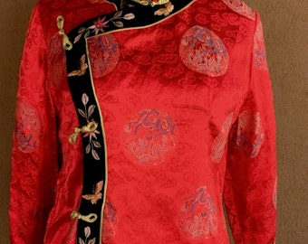 Bright Red Mandarin Blouse with Dragon Design