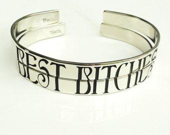 Best Bitches Split Bracelet . Personalized Best Friends Jewelry Cuff . Friendship Bracelets . TBCO