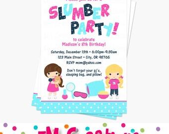 Slumber Party Invite | Etsy   Pyjama Party Einladung Vorlage