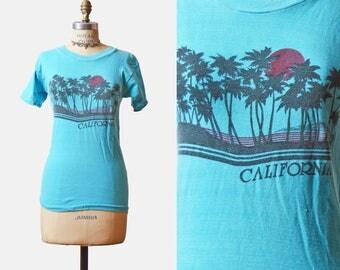 Vintage 80s Palm Tree Shirt CALIFORNIA TShirt / 1980s Tee Beach Sunset Graphic T shirt Retro Tee Surf Burnout Paper Thin Blue Small s