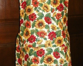 Beautiful Kitchen Cobbler Lined Apron Smock Sunflowers Handmade Kitchen Cook Craft Activities Excellent Clothing Protectors