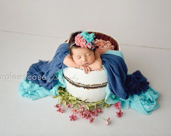 Birds of a Feather - coral turquoise brown rosette and chiffon flower headband bow