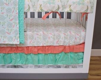 Dream Catcher Baby Bedding Girl, Bumperless Crib Bedding Southwestern Arrows, Rail Guards, Boho Feathers Coral Mint Glitter Gold Ruffled