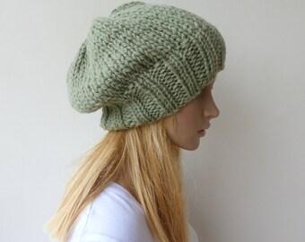 Green Beanie Green Knit Hat Slouchy beanie Womens Chunky Knit slouch hat Mens Green beanie
