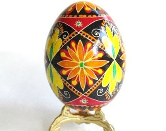 Pysanka egg Ukrainian traditional batik egg art handmade in Canada by Katya Trischuk lovely handmade gifts for moms summer birthday