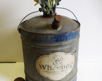 Vintage Gas Kerosene Can Wheeling Galvanized blue stripe large oil container w/ wood handle Industrial Salvage