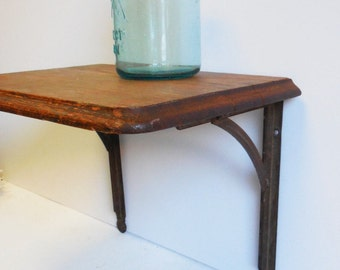Vintage Wall shelf primitive school classroom Rustic wood Architectural  Salvage wall shelves