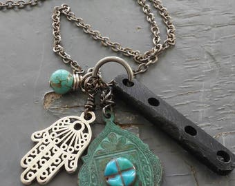 Talisman of Five - turquiose, verdigris metalwork, & sterling silver, charms, hamsa, cruelty free carved bone, chain necklace