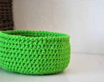 Small Bright Green Basket  Catchall Storage Bin Modern Decor Contemporary Design Fruit Basket Dorm Decor