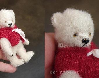 "December's Melody, 4"" White Miniature Mohair Artist Teddy Bear from Aerlinn Bears"