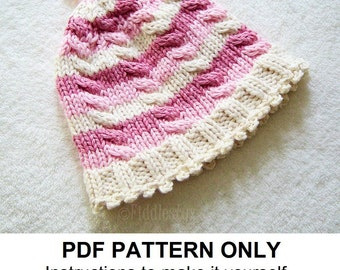 Knitting Pattern - the EMMA Hat (Newborn, Baby, Toddler, Child & Adult sizes incl'd)