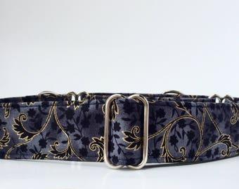 Martingale Dog Collar,,, Midnight Filligree, Navy and Gold Martingale Dog Collar in 1.5 inch or 2 inch width