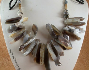 Western Cowgirl Necklace Set - Chunky Grey and Brown Botswana Agate Spikes