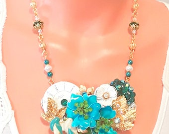 Sale - Jewelry Collage Necklace, Turquoise, Teal, matching earrings