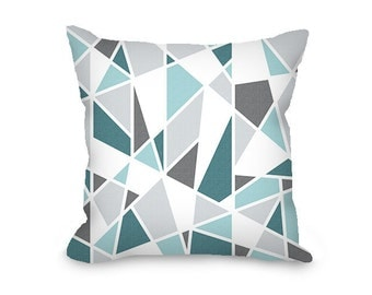 Teal and gray pillow cover, modern throw pillow cover, geometric pillow, abstract pillow, decorative pillow