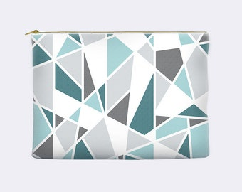 Teal cosmetic bag, geometric zippered pouch, modern pencil case, turquoise, toiletry bag, cosmetic pouch, makeup bag, small clutch