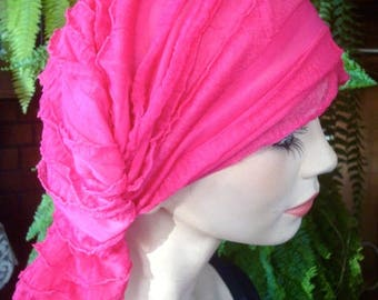 Chemo Headscarf womens chemo hat soft headcovers ruffled headscarf hot pink