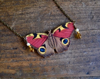 RED BUTTERFLY NECKLACE insect pendant moth jewelry jewellery
