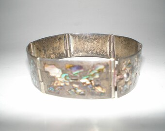 Abalone Bracelet Sterling Silver Inlaid Panel Link 40s Mexican Hand Crafted Vintage Jewelry