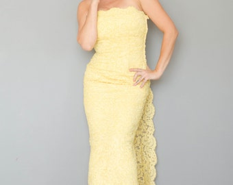 Vintage 1960's Lemon Lace Strapless Gown