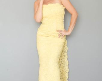 Vintage 1960's Lemon Lace Strapless Gown
