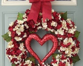 Valentine Wreath -  Valentine Door Wreath - Heart Wreath - Valentines Day Wreath