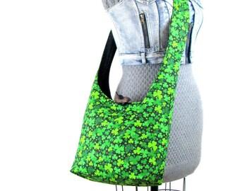Cross Shoulder Bag - Hobo Bag - Green Crossbody Bag - Hippie Bag - Sling Bag for Women - Slouch Bag - Vegan Purse - Hobo Purse for Women