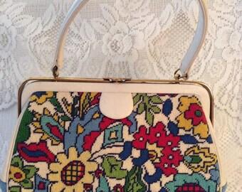 Vintage 1950s 1960s Handbag Purse Needlepoint Floral Print On Front Monogram ESC On The Back Fabulous Colors