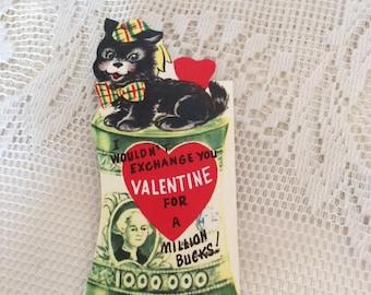 Vintage 1950s Valentine Card Black Scotty Dog & A Million Bucks Collectible Paper Ephemera Arts Crafts Paper Scrap Booking