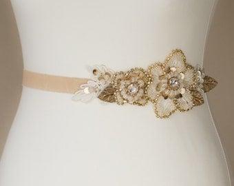 Gold Bridal sash, Bridal sash, Wedding dress belt, Gold wedding, Crystal wedding, Champagne wedding accessories