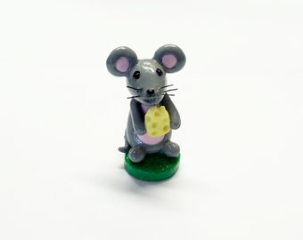 Gray Mouse Holding a Cheese, Cold Porcelain Clay Figurine, Topper, Rodent, Mice, Sculpture, Miniature, Shelf Desk Decor, Keepsake, OOAK Gift