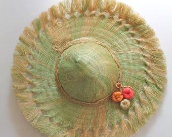 vintage 1960s straw hat - MELON souvenir hat