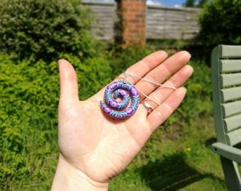 Purple Spiral Pendant, Millefiori Polymer Clay Art, Sterling Silver 925 Chain 16 inch, by Supremily Jewellery