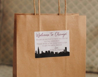 Wedding Favors -Welcome Bag Labels with Custom Message and City Skyline, Welcome Bags, Guest Bags